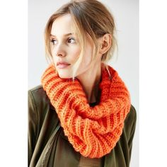 BDG Fuzzy Basic Funnel Scarf ($34) ❤ liked on Polyvore featuring accessories, scarves, orange, orange scarves, orange shawl, bdg and chunky scarves