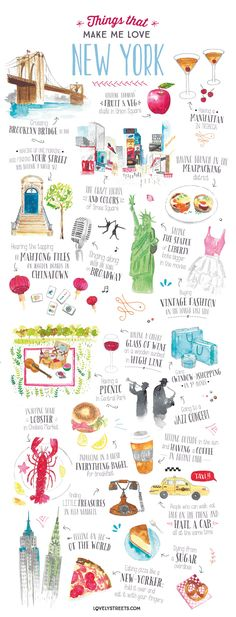 Things that make me love New York - Travel Illustration on Behance Nathalie Oued. Dinge, die mich New York lieben lassen - . New York Travel, Travel Usa, Travel Packing, New York Trip, Travel Guide, New York Shopping, New York City Map, Travel Maps, Travel Photos