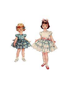 Simplicity 4545 Sewing Pattern 50s Girls Party Dress Ruffled Full Skirt Fitted Bodice Square Neck Back Bow Holiday Easter Size 3