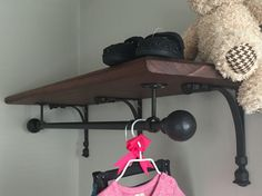Clothing shelf for baby's nursery made by my husband and father-in-law! I wa. Clothing shelf f Baby Nursery Closet, Baby Nursery Themes, Pottery Barn Curtain Rods, Shelf Brackets With Rod, Clothes Rod, Closet Curtains, Nursery Shelves, Bedroom Red, Shelving