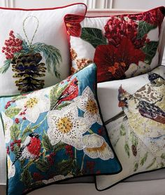 Add a rustic element to your space. This cotton linen pillow cover displays evocative, intricately embellished bird embroidery and features contrast piping and a solid velvet back.