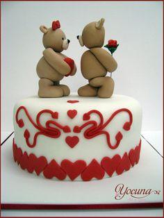 Tarta San Valentin con Ositos de peluche - Valentines cake with teddy bears