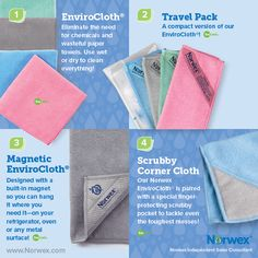 Norwex (1) EnviroCloth, (2) Travel Pack, (3) Magnetic EnviroCloth, (4) Scrubby Corner Cloth. For Facebook parties, online events and marketing.