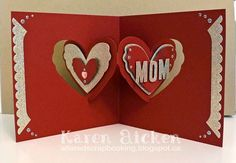 Karen Aicken using the Pop it Ups Heart Pivot Card and Fancy Frame Edges dies by Karen Burniston for Elizabeth Craft Designs. - Altered Scrapbooking: C4C272 Royally Blinged Out Valentine for Mom