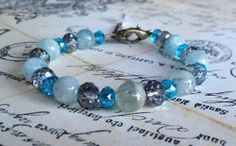Blue Beaded Bracelet with Owl Charm by MagnoliaBlueJae on Etsy, $13.00