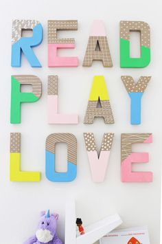 How to Make Colorful Wall Letters Healthy Food + Happy Thoughts + Inspiration for Living Your Best LifeHow to Make Colorful Wall LettersHow to Make Colorful Wall Letters – Af Playroom Wall Decor, Letter Wall Decor, Playroom Furniture, Decorative Letters For Wall, Small Playroom, Playroom Storage, Diy Letters, Painted Letters, Diy Wall