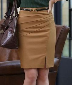Spring Summer Autumn Fashion Work Skirts Women's Solid Color Slim Hip Middle Waist Straight Skirt For Girls