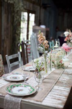 rustic garden table decor #wedding