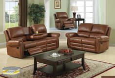 3pcs Modern Reclining Leatherette Sofa Set