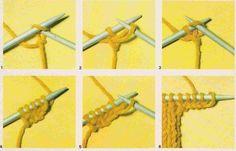 Tricot e Croche Passo a Passo Receitas: Como fazer aumento de pontos na borda - tricô