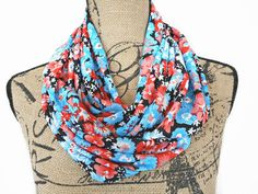 Turquoise Floral Infinity Scarf Orange Black by ModaBellaScarves