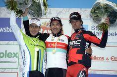 Podium: Fabian Cancellara (RadioShack - Leopard) in first, Peter Sagan (Cannondale) in second, Daniel Oss (BMC) in third