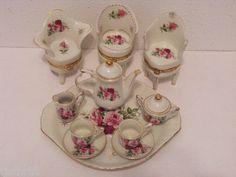Vintage 13pc Porcelain Floral Miniature Tea Set Wing Back Chair Trinket Boxes ❤