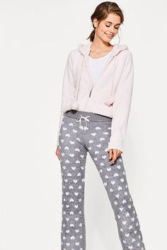 Trousers with hearts, teddy fur