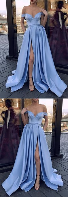 Sexy V-neck Off The Shoulder Long Satin Leg Split Evening Gowns