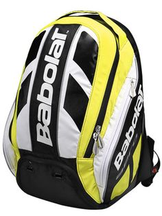 Babolat Aero Pro Backpack  The racquet compartment comes with a handle cover and can store up to 2 racquets without covers. The large main pocket features a built-in vented shoe compartment. Side accessory pockets can fit a can of balls or a water bottle. Backpack comes with padded straps and backing.  $99.00 Tennis Bags, Badminton, No Equipment Workout, Bicycle Helmet, Motorcycle Jacket, Tennis Today, Backpacks, Shoe Bag, Fitness