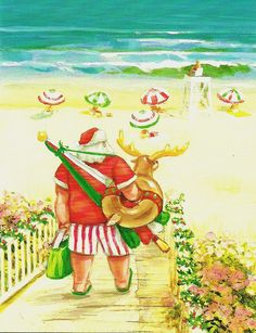 Santa at the beach contemporary Christmas illustration