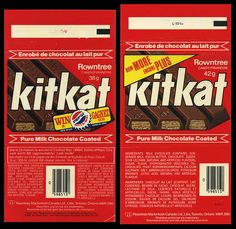 Canadian Rowntree KitKat Kit Kat candy bar wrappers - Pepsi offer - 1970's by JasonLiebig, via Flickr