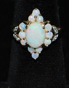 14K White Opal and Diamond Dinner Ring