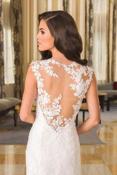 Justin Alexander  Deep Illusion Back Chantilly Lace Bridal Gown