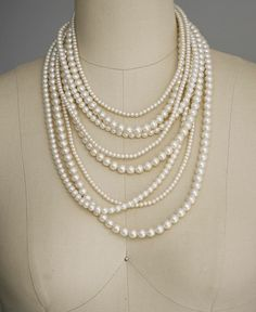Multi Strand Pearl Necklace Layer pearl by lolaandmadison on Etsy, $95.00