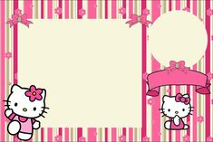 Hello Kitty With Flowers: Free Printable Invitations. - Oh throughout Hello Kitty Birthday Banner Template Free - Business Template Hello Kitty Invitation Card, Hello Kitty Birthday Invitations, Hello Kitty Theme Party, Hello Kitty Themes, Birthday Invitation Card Template, Free Printable Invitations, Party Printables, Invitation Cards, Invitation Background