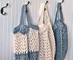 SALE...Crochet Market bag with detachable flower , eco-friendly, reusable, tote bag, blue and white Etsy