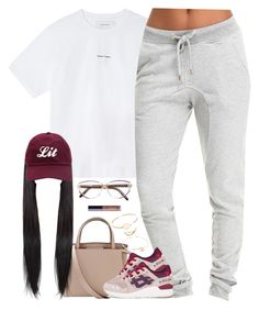 """""""Too Clean"""" by oh-aurora ❤ liked on Polyvore featuring Valextra, Marques'Almeida, Asics, VANRYCKE, Givenchy, tarte and Marc by Marc Jacobs"""