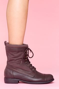 Canvas Combat Boot - Brown