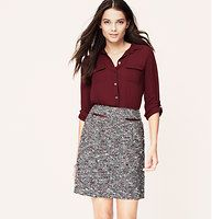 """Petite Curvy Fit Tweed Zip Pocket Skirt - Especially designed to flatter curves with a more fitted waist and perfectly placed seaming, pleats and zips rev up the tweedy shift into can't-resist gear. Zip pockets. Front pleated details. Back zip. Lined. 18"""" long."""