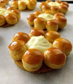 St. Honoré Cream Puff Cakes with Diplomat Cream & Caramel   LaboDePâtisserie.com Saint Honore Cake, Cream Puff Cakes, Choux Cream, Cream Puff Recipe, Individual Cakes, Choux Pastry, Sugar Crystals, Gourmet Desserts, Classic Desserts