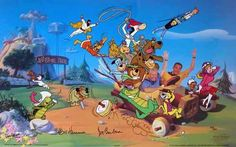 """""""In 40 Years of Animation"""" Joe Barbera and William Hanna masters of the small screen take a ride around Jellystone Park with: Atom Ant, Fred Flintstone, George Jetson, Hong Kong Phooey, Huckleberry Hound, Jonny Quest, Magilla Gorilla, Muttley, Penelope Pitstop, Quick Draw McGraw, Ruff, Reddy, Scooby-Doo, Space Ghost, Top Cat, Touche Turtle, Wally Gator and Yogi Bear. This hand-painted limited edition cel was designed by Iwao Takamoto and is signed by small screen legends Bill Hanna & Joe…"""