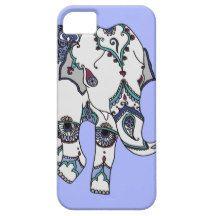 Pale Blue Embellished Elephant Phone Case
