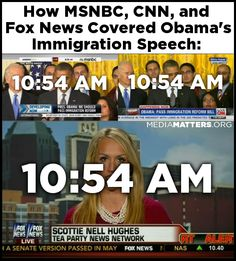 CNN and MSNBC covered Obama's whole immigration speech.  Fox News had other priorities.