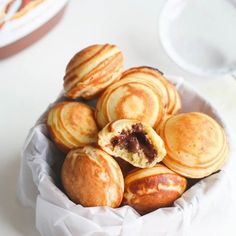Little Danish pancake puffs stuffed with nutella. Absolutely gorgeous, tasty and a delight in your mouth.