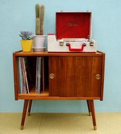Vintage Mid Century Danish Modern Wooden Record Cabinet