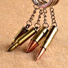 Fashion Antique Bronze Plated Bullet Keychain Metal Key Chain Souvenir Creative Gift Keyring Trinket llavero PWK0479