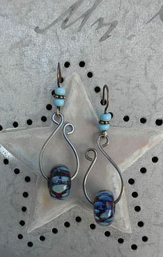 European beads on wires earrings - lynda-carson-lampwork-ear-candy