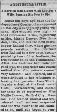 This Day in History: August 30 – Kristin Holt | A Most Brutal Love Affair; A Married Man Elopes With Another's Wife, leaving His Own to Die. Published in Fort Scott Daily Monitor of Fort Scott, Kansas on August 30, 1876. Part 1 of 3.
