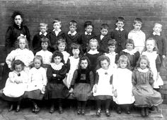 1894 class photo of pupils at St Saviour's School, Ringley. My grandfather Albert Robinson is boy from left, back row. Wouldn't you just have wanted to be in charge of this lot ? Back Row, 2 Boys, The Row, Growing Up, School