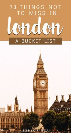 75 Things to Do in London (The ULTIMATE London Bucket List) Travel tips 2019 Traveling to England soon? Here's my extensive bucket list on all the things to do in London! Complete with tips, guides, and more! London Bucket List, Europe Bucket List, Travel List, Budget Travel, Travel Guides, Travel Europe, Italy Travel, Time Travel, London Eye