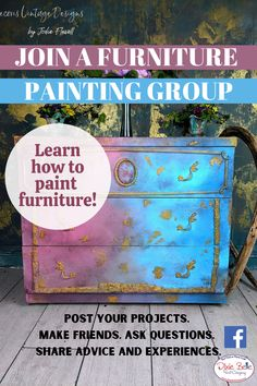 Need quick painted furniture advice? Join the Chalk Mineral Paint Enthusiasts group to learn how to complete your DIY projects with Dixie Belle Paint! Take inspiration from the best artists in the industry and learn how to paint your own furniture! Rustic Painted Furniture, Refurbishing Furniture, Diy Furniture Hacks, Furniture Makeover, Painting Laminate Furniture, Paint Furniture, Mural Ideas, Art Ideas, Antique Booth Displays