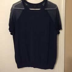 J. Crew Short Sleeve Blouse Navy blue top- only worn a few times. Very comfortable, sheer sleeves that are a bit longer than short sleeves. J. Crew Tops Blouses