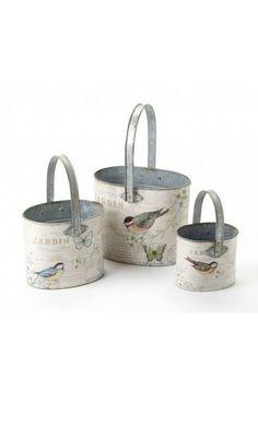 Bird and Butterfly Bucket Set 3 @ rosefields.co.uk