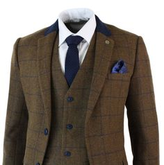 Custom Men Brown Herringbone Blue Check Tweed Vintage 3 Piece Tailored Fit Suit in Clothes, Shoes & Accessories, Men's Clothing, Suits & Tailoring | eBay!