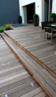 Terrasse en bois sur 2 niveaux en ipé