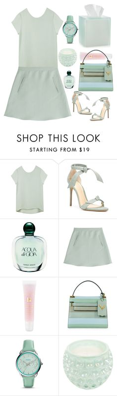 """Happy Spring day!"" by rasaj ❤ liked on Polyvore featuring Alexandre Birman, Giorgio Armani, Valentino, Lancôme, FOSSIL, Opaline and Martha Stewart"