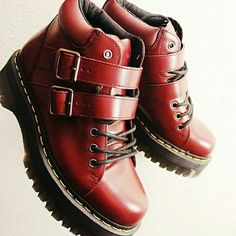 Red leather dr martins, with buckle and lace,  cute af