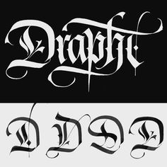 "lucabarcellona ""Drapht"" logo design & capital D test for hip hop producer, 2012. #lucabarcellonacalligraphy #lucabarcellona #calligraphy #drapht"