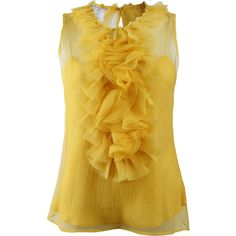 OSCAR DE LA RENTA Sleeveless Chiffon Blouse with Ruffle ($594) ❤ liked on Polyvore featuring tops, blouses, shirts, yellow, frilly shirt, yellow blouse, sleeveless chiffon shirt, ruffle shirt and sleeveless tops